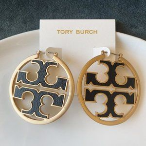 Tory Burch Logo Hoop Gold Earrings